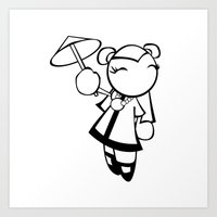 Kawaii Doll Umbrella Art Print