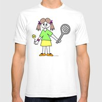 Tennis Girl Mens Fitted Tee White SMALL