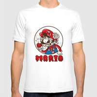 Creepy Mario Mens Fitted Tee White SMALL