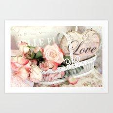 Shabby Cottage Love Heart Roses Floral Garden Decor Art Print