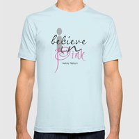 I believe in Pink Audrey Hepburn Mens Fitted Tee Light Blue SMALL