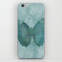 Teal Watercolor Butterfl… iPhone & iPod Skin