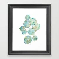 Blue Green Hexagon Arran… Framed Art Print