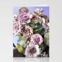 Pastel Vintage Zinnia's Stationery Cards