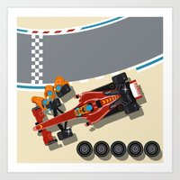 Race car in pit stop Art Print