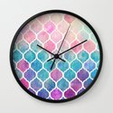 Rainbow Pastel Watercolor Moroccan Pattern Wall Clock