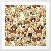 St. Bernards And Newfoun… Art Print