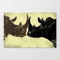 Bull Rhinos Canvas Print