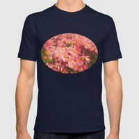 Little Pink Flowers Mens Fitted Tee Navy SMALL