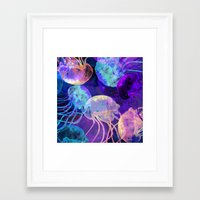 Transculent Moon Jellyfish Framed Art Print