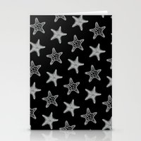 Starfish White on Black Stationery Cards