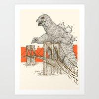 Godzilla Vs. The Brookly… Art Print