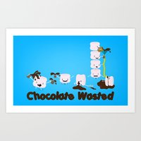 Chocolate Wasted (blue) Art Print
