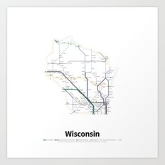 Highways of the USA – Wisconsin Art Print