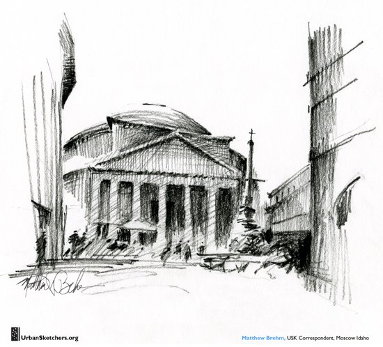 "Matthew Brehm, ""Roma Pantheon"" Canvas Print"