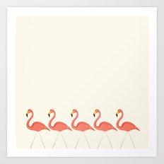 Flamingo Lineup Art Print
