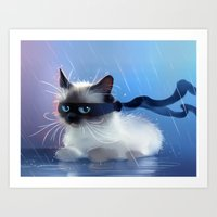 Fancy Ninja Cat Art Print