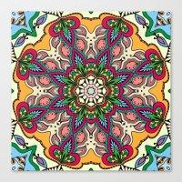 Boho Floral Mandela Pattern 5 Canvas Print