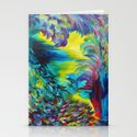 FLIGHT ON TAP - Whimsical Colorful Feathers Fountain Peacock Abstract Acrylic Painting Purple Teal Stationery Cards