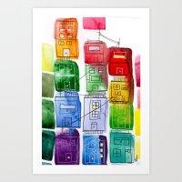 Rainbow Village 1 Art Print
