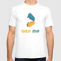 Bite Me Mens Fitted Tee White SMALL