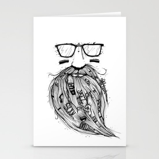 Beard Me Some Music (Black & White) Stationery Card