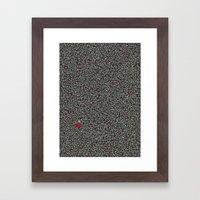 Blue w/Red Accent Dot Color Design Framed Art Print