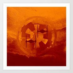 Galactic Empire Imperial Cog Orange Tie Fighters Art Print