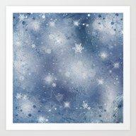 Silver Blue Snowflakes Art Print
