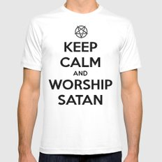 Keep Calm and Worship Satan White SMALL Mens Fitted Tee