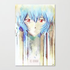 Rei Ayanami from Evangelion Digital Mixed Media Canvas Print
