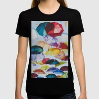 Umbrellas Womens Fitted Tee Black SMALL