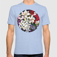 Lilies & Orchids Mens Fitted Tee Tri-Blue SMALL