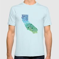 Typographic California -… Mens Fitted Tee Light Blue SMALL