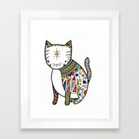 Patterned Cat Framed Art Print