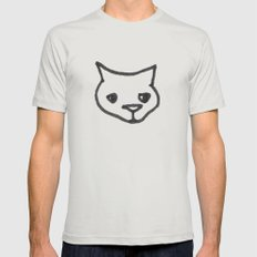 Concerned Cat Mens Fitted Tee Silver SMALL