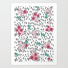 Rose. Illustration, pattern, print, floral design, art, painting, flowers, flower, Art Print