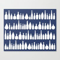 Bottles Navy Canvas Print