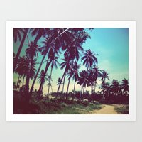 Road Of Palm Trees Art Print