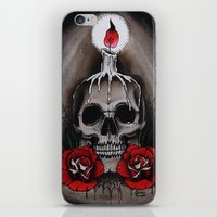 Voodoo Skull and Roses with candle iPhone & iPod Skin