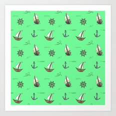 Happy Sailing Pattern with green background Art Print