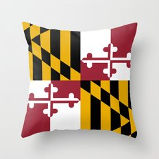 Flag of Maryland - Authentic High Quality image Throw Pillow