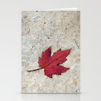 Red Leaf On Concrete Stationery Cards