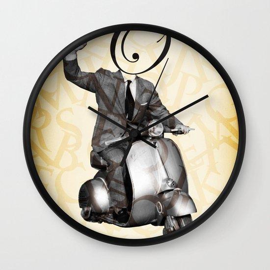 Mr O on his vespa Wall Clock