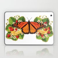 Monarch Butterfly with Strawberries Illustration Laptop & iPad Skin