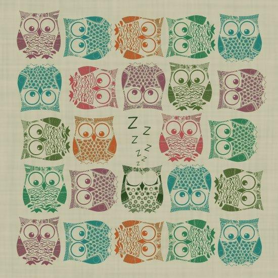 vintage sherbet owls Art Print