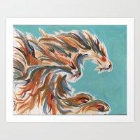 Blue flow phoenix Art Print