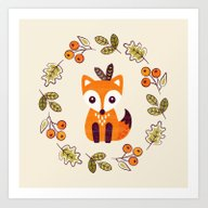 Art Print featuring LITTLE FOX WITH AUTUMN B… by Daisy Beatrice