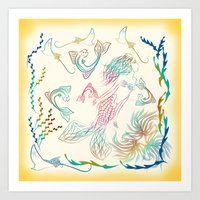 mermaid Art Prints featuring Mermaid by famenxt