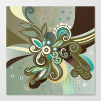 Floral curves of Joy, olive Canvas Print